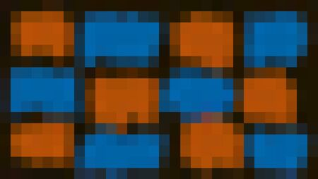 orange and blue pixel abstract with black background