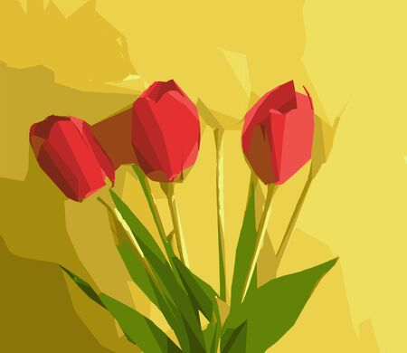 red flowers with green leaves and yellow background Stock Photo