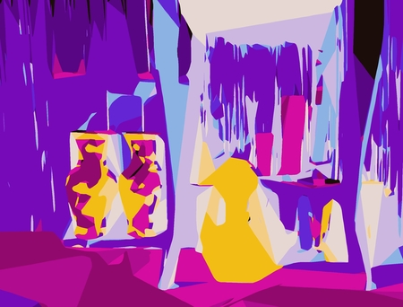 modern interior: purple pink yellow and blue drawing and painting background Stock Photo
