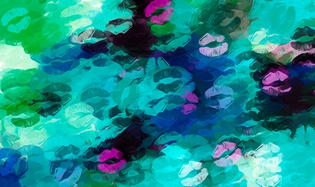green lipstick: pink blue and green kisses lipstick abstract background