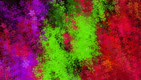 green and red: green red and purple flowers abstract background