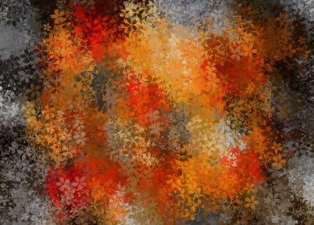 fine detail: orange red and black flowers abstract background