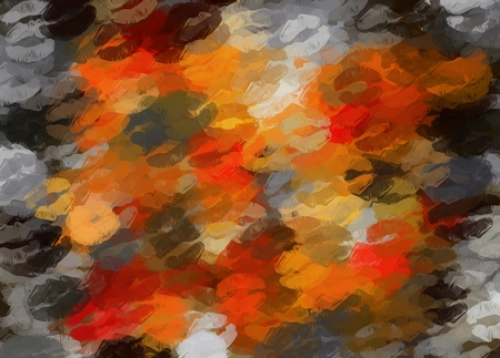 orange black and red kisses lipstick abstract background Stock Photo