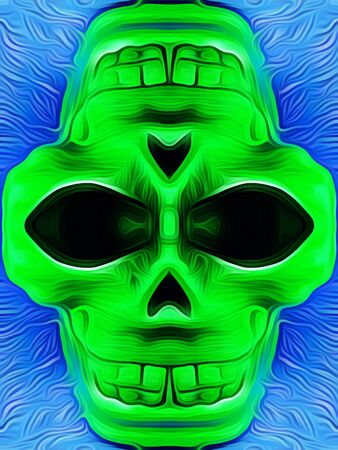 drawing and painting green skull with blue background Stock Photo