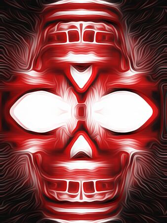 drawing and painting red skull with black background