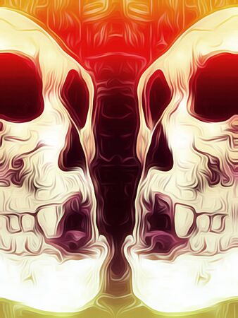 drawing and painting skull with red black and orange background Stock Photo