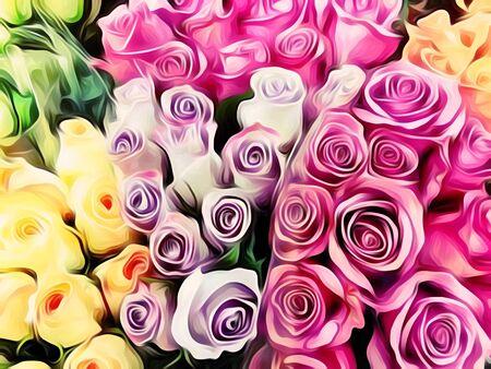 분홍색 자주색 및 노란색 장미 페인팅 배경