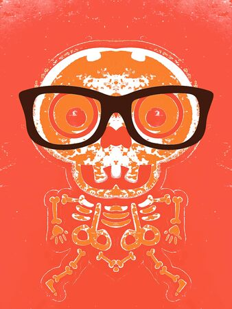 orange skull and bone with brown glasses and orange background Stock Photo