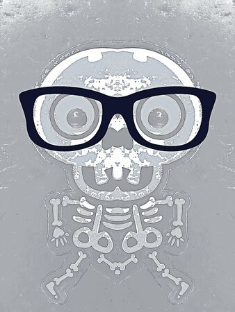 white skull and bone with black glasses and grey background Stock Photo