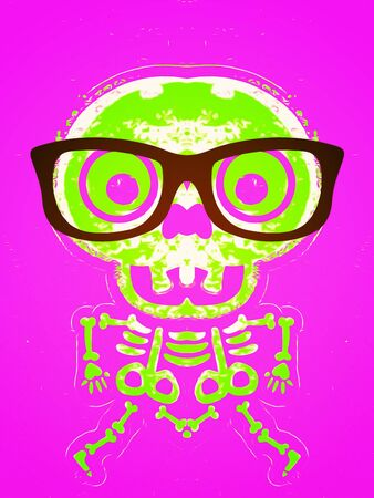 green skull and bone with glasses and pink background