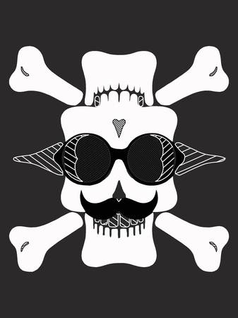 skull head with glasses and mustache in black and white Stock Photo