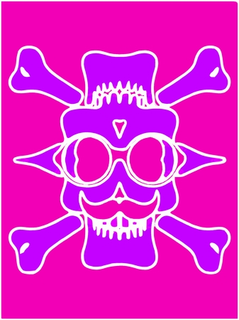 purple devil skull with glasses and bones and pink background Stock Photo