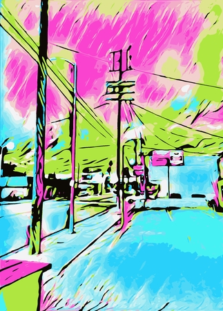drawing and painting blue city with pink and green sky