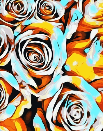 blue orange white and yellow roses texture abstract background