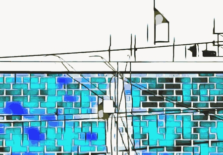 brick building: blue and dark blue brick building with wire background