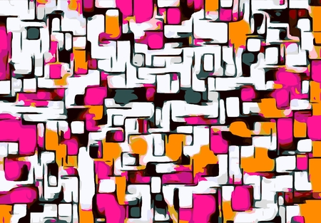 pink orange and black lines drawing abstract with white background