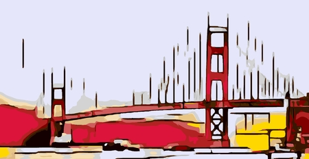 golden texture: drawing Golden Gate bridge, San Francisco, USA with white background