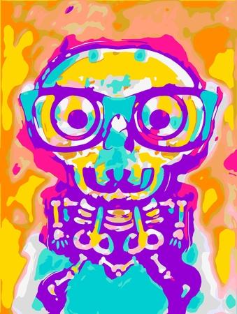 shocking: shocking skull in blue yellow pink orange and purple