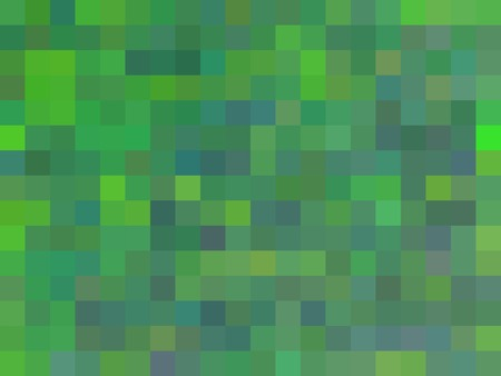 geometric square pixel pattern abstract in green and blue Stockfoto