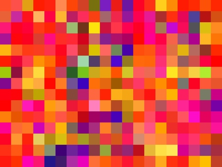 geometric square pixel pattern abstract in red pink yellow blue