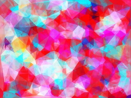 geometric triangle pattern abstract background in pink red blue