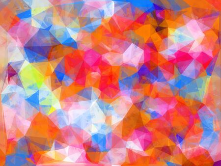 geometric triangle pattern abstract background in orange pink blue