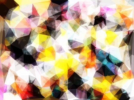 geometric triangle pattern abstract background in yellow brown pink Stock Photo
