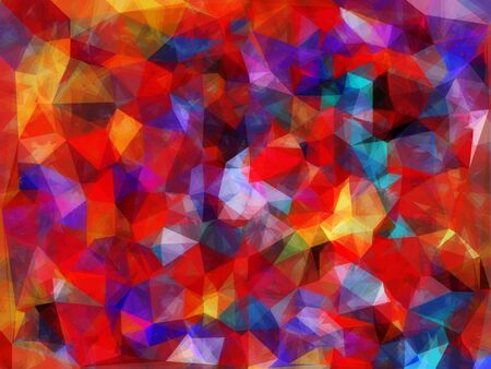 geometric triangle pattern abstract background in red blue yellow