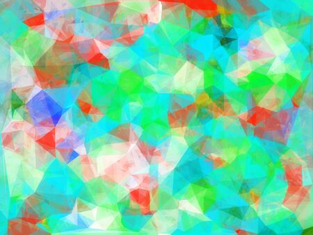 geometric triangle pattern abstract background in blue green orange Stock Photo