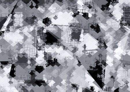 geometric square pixel pattern abstract background in black and white