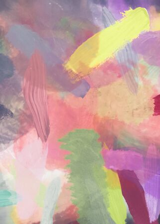brush painting texture abstract background in pink purple yellow Zdjęcie Seryjne