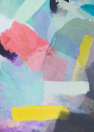 brush painting texture abstract background in pink blue yellow