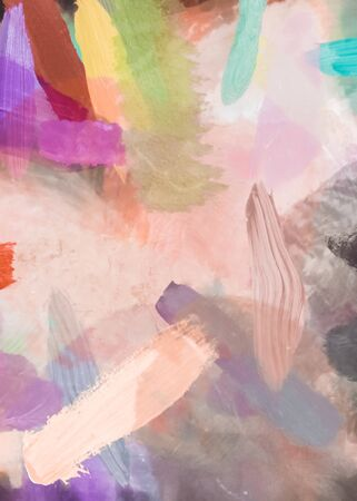 brush painting texture abstract background in pink purple yellow green Zdjęcie Seryjne