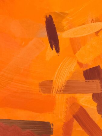 brush painting texture abstract background in orange brown