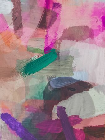 brush painting texture abstract background in pink brown green Zdjęcie Seryjne