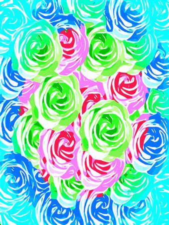 colorful rose pattern abstract in pink blue green