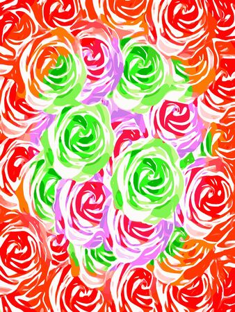 colorful rose pattern abstract in red pink green Zdjęcie Seryjne