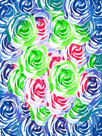 colorful rose pattern abstract in pink green blue