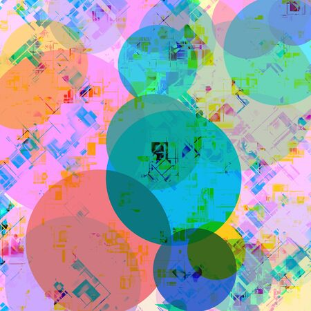 geometric circle pattern abstract in blue pink green yellow