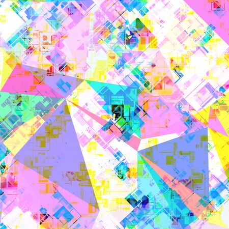 geometric triangle pattern abstract background in pink blue yellow green Zdjęcie Seryjne