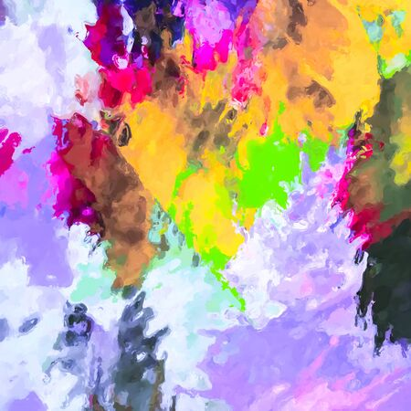 painting texture abstract background in purple yellow green pink