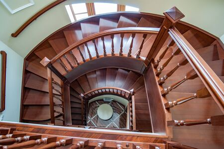 Top view of a spiral staircase Stock Photo