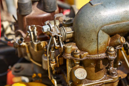 Homemade wheeled tractor parts closeup Stock Photo