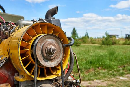 Homemade wheeled tractor in the village Stock Photo