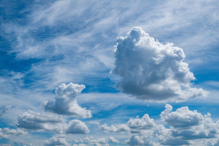 Cirrus and ordinary clouds in a shuffle against a blue sky Stock Photo
