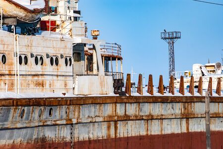 Abandoned rusty ships ahead of sawing for scrap