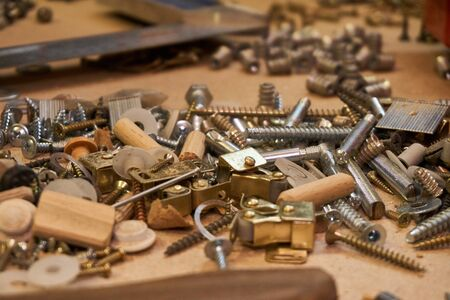 Bolts, screeds, holders for the shelf, dowels, screws Stock Photo