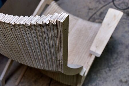 Prototype of a design wooden chair made of coniferous plywood