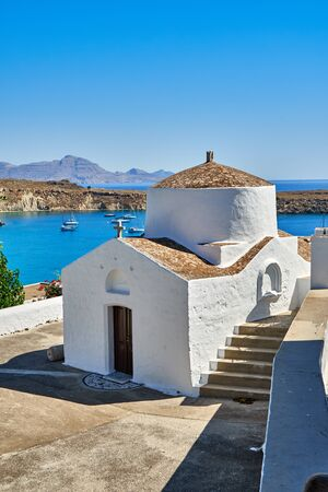 White chapel on the background of the sea