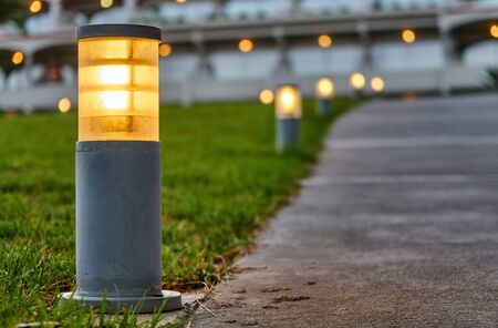 Street lights located along the footpath on the grass